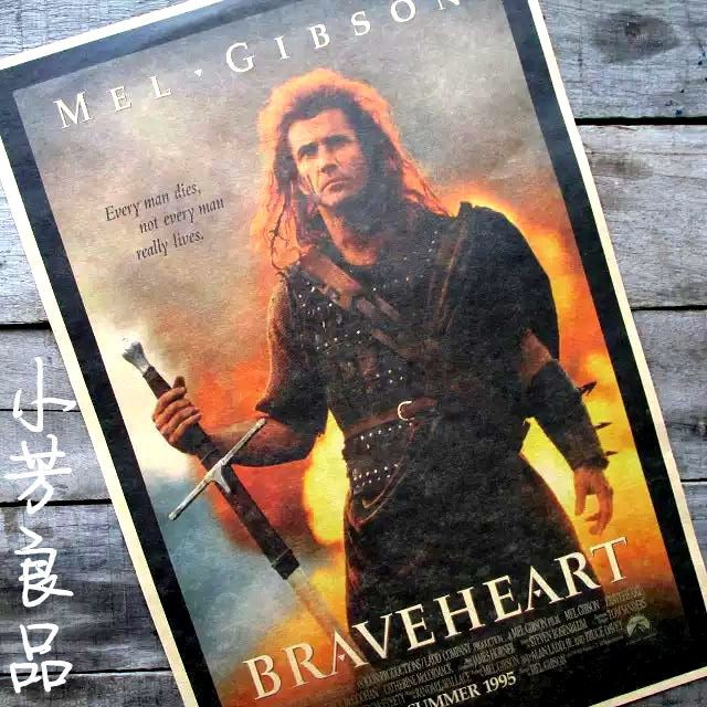 new cheap retro vintage poster Braveheart Brave heart of England, Scotland Classic Movies for kids rooms free shipping 42*30cm(China (Mainland))