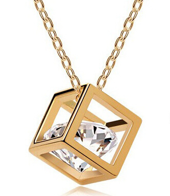 Promotion Fashion Top Quality 18K Rose Gold Plated Magic Cube Zircon Pendant Charm Necklace For Lady(China (Mainland))