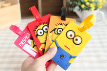 NEW arrive despicable me Minions PVC silicone travel Baggage Luggage Bag Parts Tag bus card sets Silica gel product(China (Mainland))