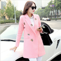 Autumn Winter Fashion Woolen Coat Women High Quality Temperament Pink Blue Animal Embroidery Coat outerwear CM