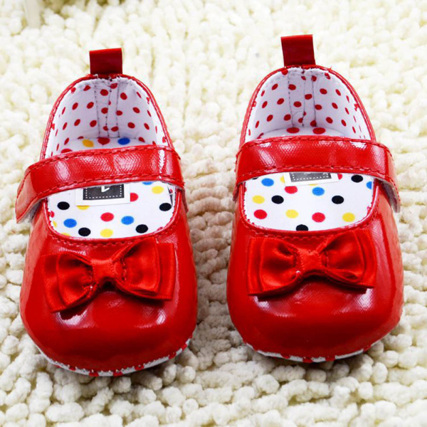 Red PU Toddler Girls Shoes Baby First Walker Kids Sapatos With Butterfly Infant Shoes(China (Mainland))