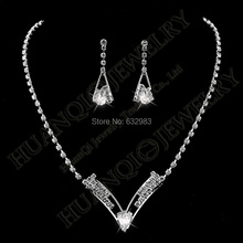 New Women Wedding V Shaped Teardrop Crystal Diamante Rhinestone Necklace Earrings Set Charming Bridal Jewelry Set Party Prom(China (Mainland))