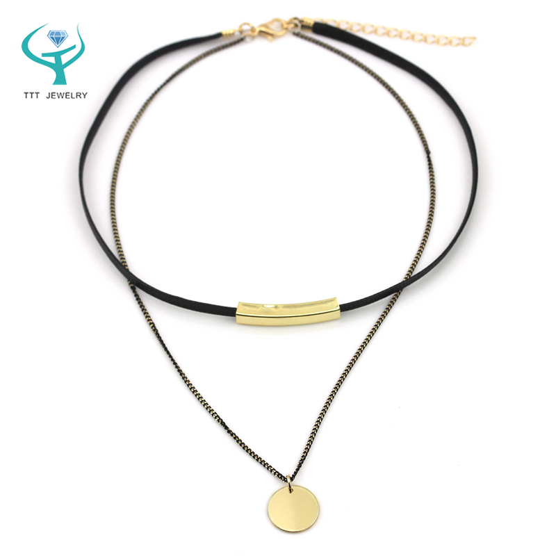 2016 New Rock Genuine leather+alloy pendant+copper accessories Black leather clear crystal pendant necklace luxury summer style(China (Mainland))