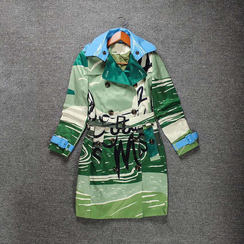 Turn Down Collar Long SLeeves Letters Print Green Trench Coats For Women Fantasia Feminina Autumn Coat For Women 15805(China (Mainland))