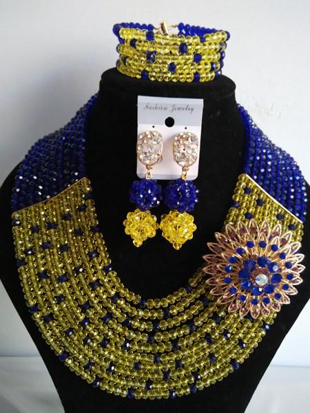 Fashion African beads jewelry set yellow Crystal beads bride jewelry nigerian wedding african beads jewelry Set G-717<br><br>Aliexpress