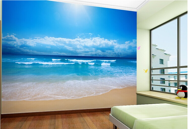 Customize photo wallpaper wall paper non woven wallpaper for Beach mural bedroom