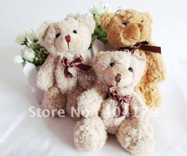 LOW PRICE New hot sell plush toys doll teddy bear with chain for  birthday gift high quality 14cm coffe and beige 12pcs/lot