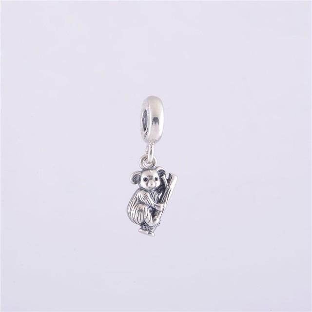 Подходит пандоры прелести браслет аутентичные 925 серебряные бусины милый коала европейский шарм DIY ювелирных изделий бесплатная доставка