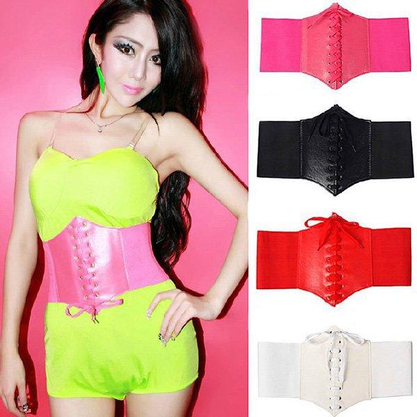 Womens Fashion Waist Cincher Corset Belt Wide Band Elastic Tied Waspie Belt YRD(Hong Kong)