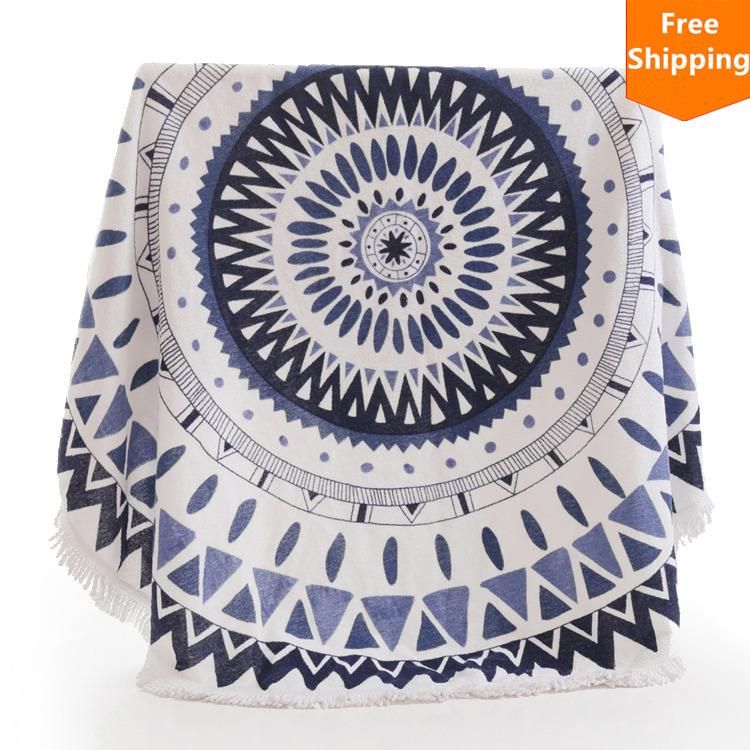 2015 New Arrival 100% Cotton Roud Bohemia Printed Tassel Knitted Beach Towel toalla playa serviette de plage microfiber towel(China (Mainland))