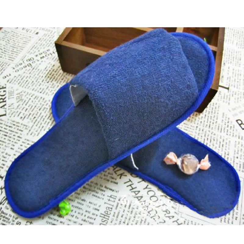 Blue Terry Slippers For Hotel Disposable Slippers Flip Flops Star Hotel Slipper Home Disposable Foam Pedicure Slippers(China (Mainland))