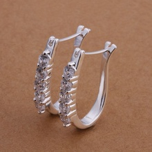 Buy Free Shipping!!Wholesale 925 jewelry silver plated Earring,silver plated Fashion Jewelry,Cute Zircon Earrings SMTE312 for $1.32 in AliExpress store