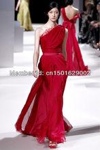 ph0854 custom made red chiffon dress one sleeve long dress elie saab dress cheap evening dress(China (Mainland))