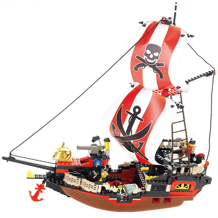 Sluban Pirate Ship Pirate Of The Caribbean Treasure Ship Weapons Building Blocks Sets Figures Minifigures Compatible With Lego