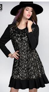 Women's Dress Hitz lace stitching long-sleeved fishtail cheap clothes china Fashion sexy ladies Discount promotion(China (Mainland))