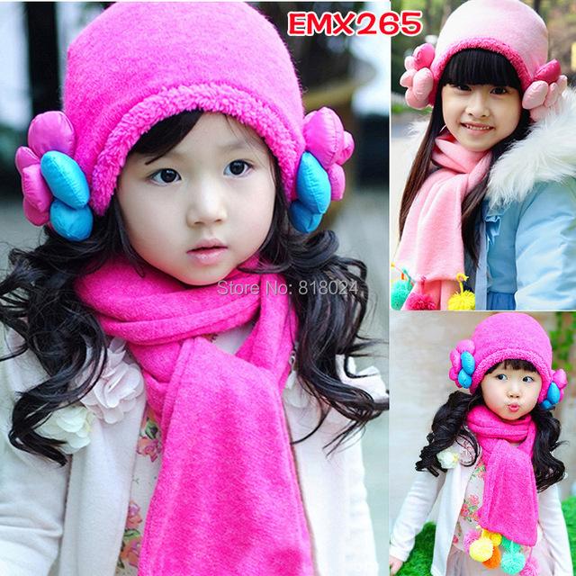 Зима большой цветок дети маски и шапки шарф шляпа комплект девочки-младенцы трикотаж дети шляпы и шапки