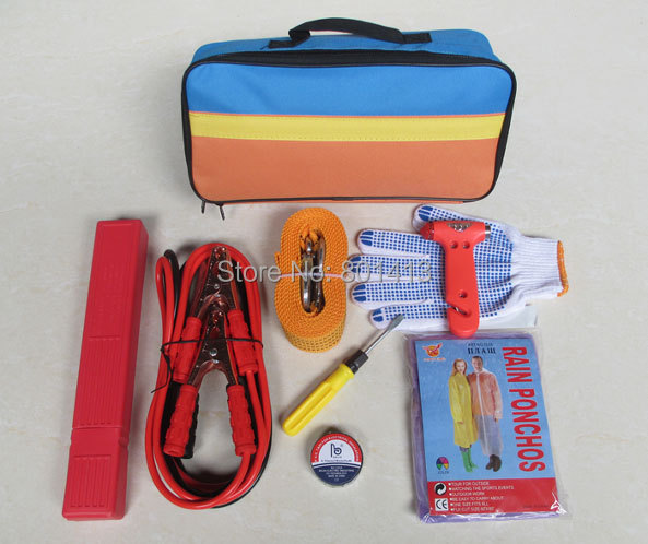 (ACE-328) Foldable triangle,Tow rope Car Safety Emergency Tool Kit(China (Mainland))