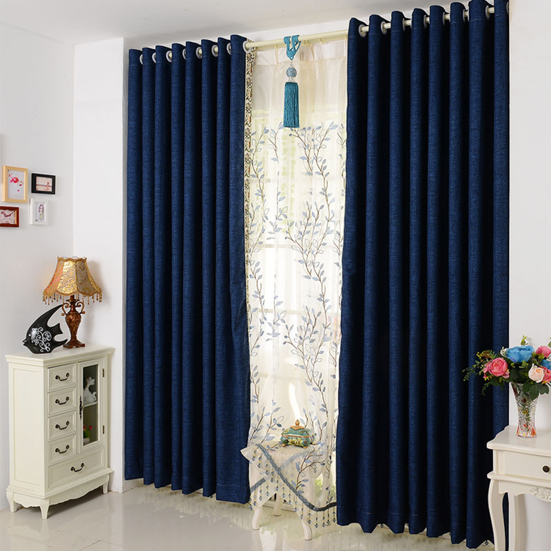 Modern and simple solid color cotton curtain fabric for M s living room curtains
