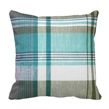 Humid Blue Green Tartan Plaid Pillow Case (Size: 45x45cm) Free Shipping