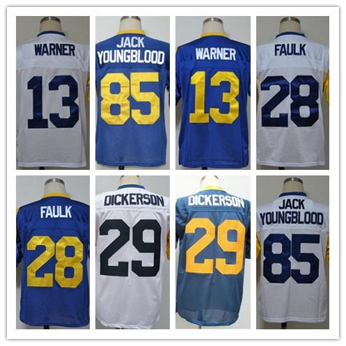 Kurt Warner Marshall Faulk Eric Dickerson Jack Youngblood Men's Throwback Jersey Size 48-56(China (Mainland))