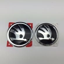 For Skoda Logo 80mm/90mm Black Car Emblem Front Hood Rear Trunk Bonnet Octavia Fabia Superb Yeti 32D 853 621 A/5JD 853 621 C(China (Mainland))