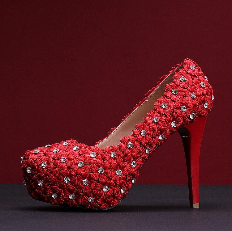 Здесь можно купить  Original winter shoes woman Shanda Cinderella glass slipper leather retro Bridal crystal high heeled wedding shoes red  Обувь
