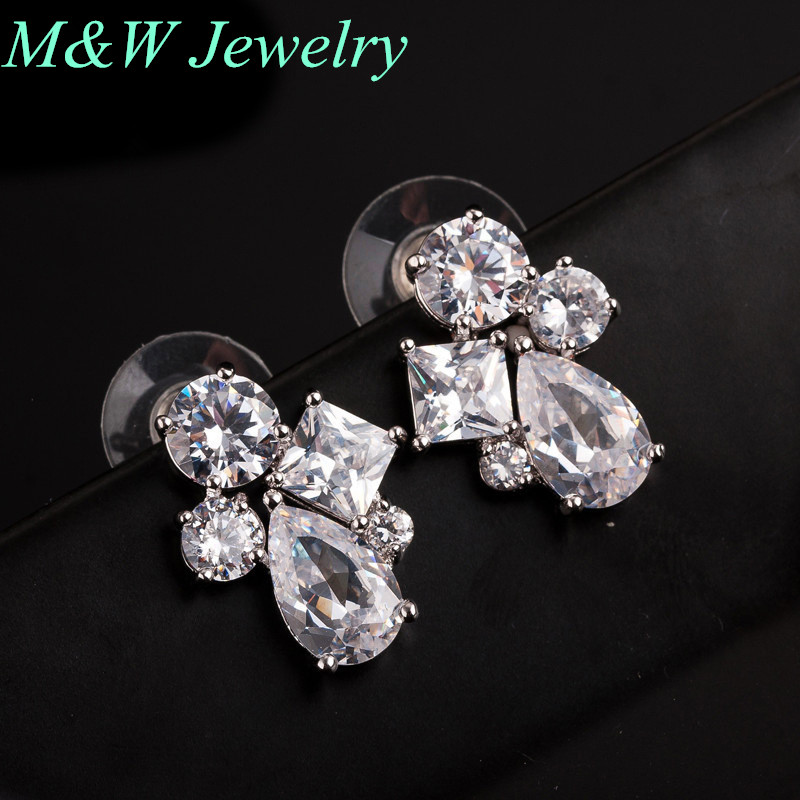 2017 new popular jewelry Stud Earrings imported fashion AAA + Cubic Zirconia earrings earrings high-end atmosphere M&W1600(China (Mainland))