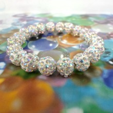 BS1981 2015 Big Sale Shamballa Bracelets Bangles Pave 10mm Crystal  20 pcs white AB color(China (Mainland))