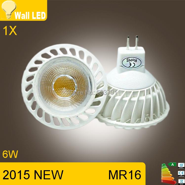 1X 2015 new high power MR16 12V 6w led cob spotlight lamp bulb warm / white mr 16 led.(China (Mainland))