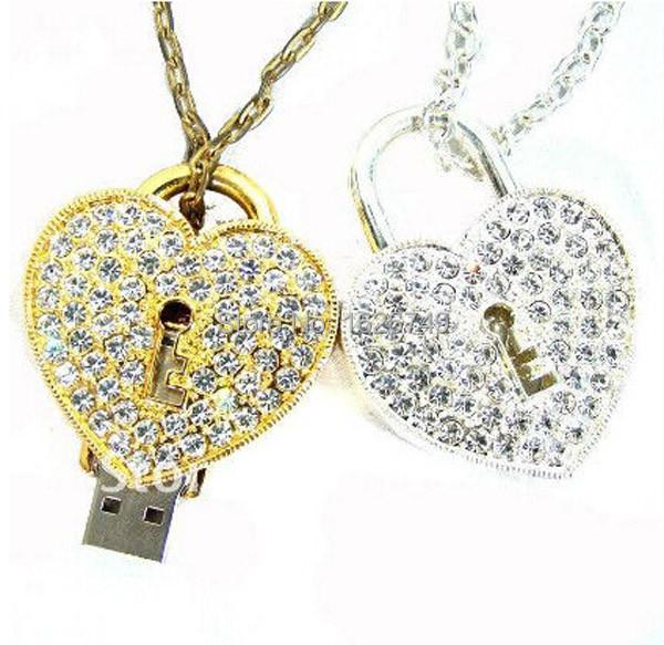 hot cute crystal love Heart Lock Design Necklace Model 4GB 8GB 16GB 32GB usb 2.0 memory stick pendrive/gift/car/thumb drive/disk(China (Mainland))