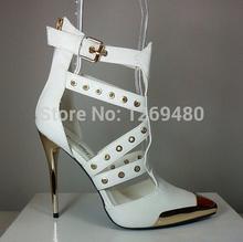 Blanc pointu-toe pump talon avec lacets new design or haute talons pompes pour femmes 2016(China (Mainland))