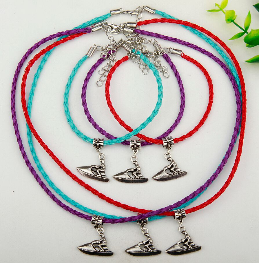10 Set Antique Silver Motorboat Charm Pendant Necklace Bracelets Set Accessories Jewelry Findings For Women Free Shipping A257(China (Mainland))