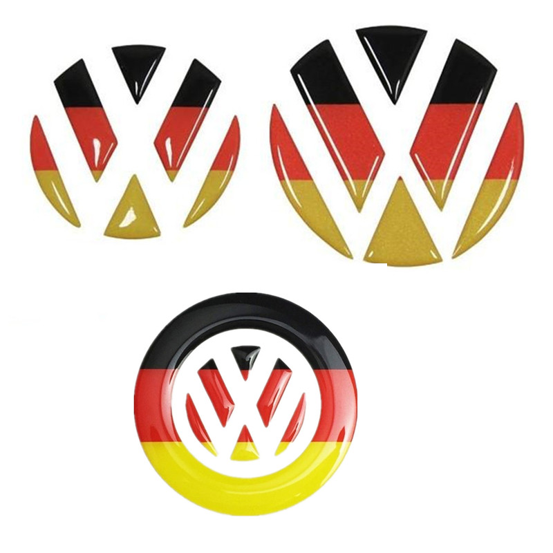 Germany Flag VW Emblem Steering Wheel Car Sticker For Volkswagen Golf 6 7 Polo Beetle Touran Passat CC R36 Front Rear Logo Decal(China (Mainland))