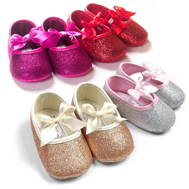 Free shipping 2016 Bling golden leather baby toddler shoes princess ballet sequins infants shoes 2217