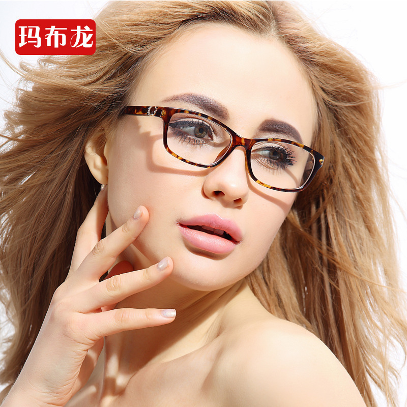 Eyeglass Frames On Models : Ultra light big box Leopard plain mirror frame female ...
