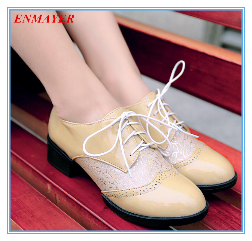 ENMAYER beautiful mixed colors women oxfords casual  oxfords shoes round toe Patent Leather lace-up oxfords shoes for women <br><br>Aliexpress