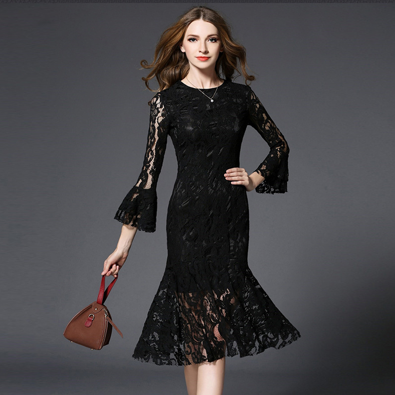 2017 new women's high quality black lace dress fashion sexy package hip fish tail flower side sleeve lady long paragraph dress(China (Mainland))