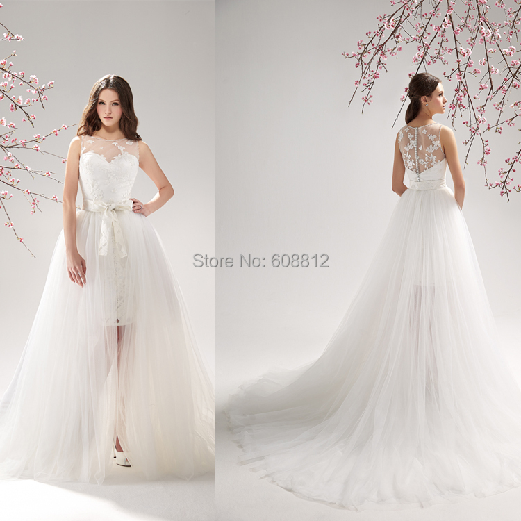 Aliexpress Buy Custom Made Appliques Fashionable Wedding Dress 2015 High Low Tulle
