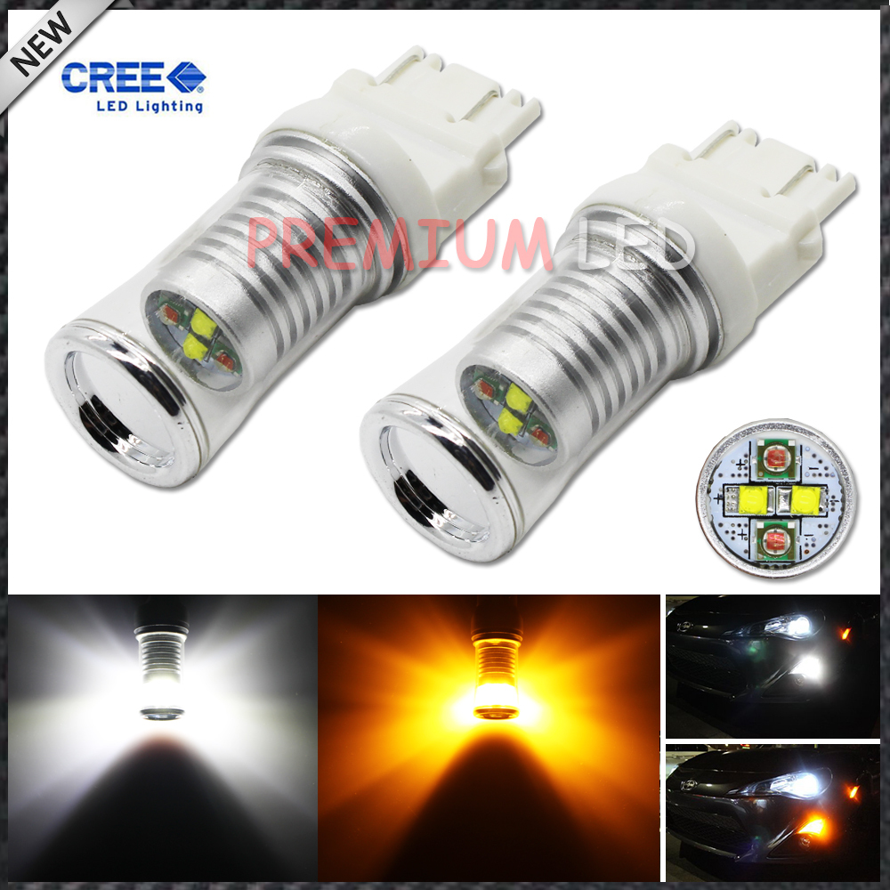 2pcs High Power 3157 3357 T25 CREE Switchback White/Amber LED Bulbs w/ Reflector Mirror Design for Front car Turn Signal Lights(China (Mainland))
