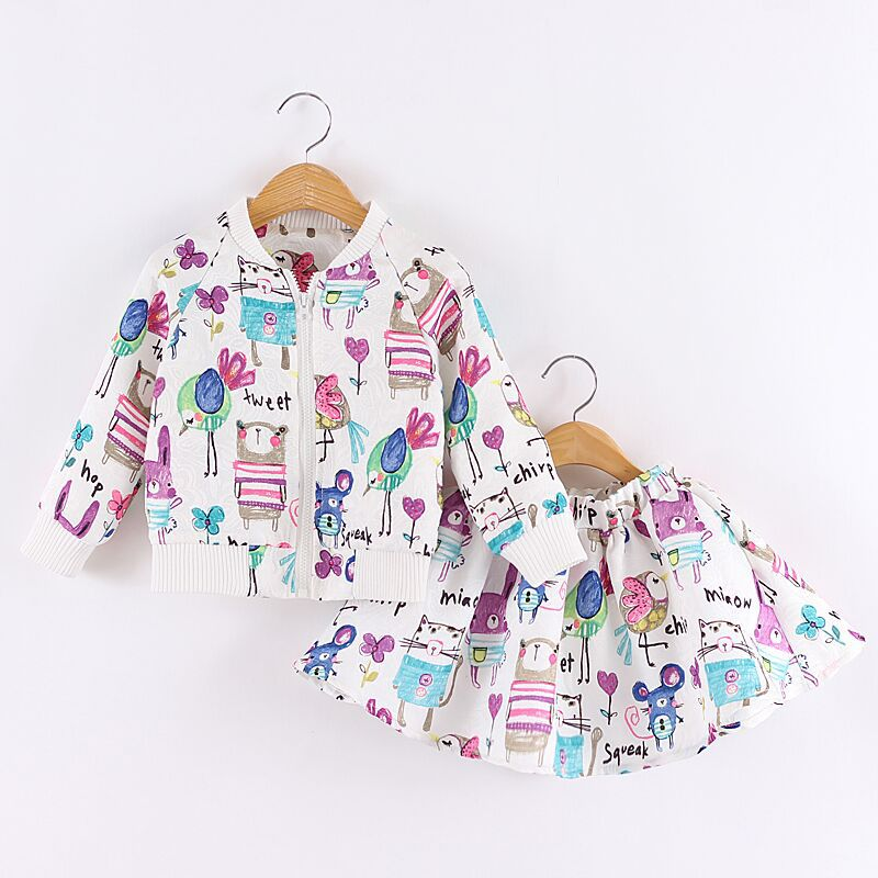 2016 Autumn Children's Cartoon Graffiti Long Sleeved Jacket + Skirt Outfits Set Fashion Design Children Clothing Set Kids Wear(China (Mainland))