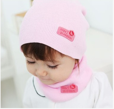 Hot sale knitted pink girl baby hat, autumn and winter baby gorros, 6-24 month baby fashion set of neck wrap and baby beanies(China (Mainland))