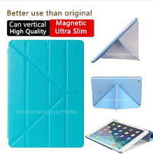 can vertical support high quality wake sleep slim magnetic smart cover for apple ipad air 2 case (iPad 6) thin like 360 rotate
