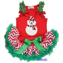 Newborn Baby Christmas Red White Chevron Green Ruffles Pettiskirt Plus Snow Man Red Tank Top 0-6M(Hong Kong)