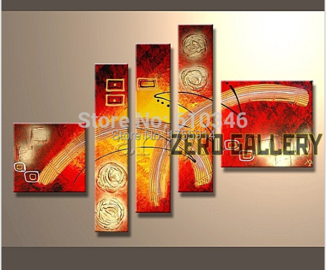 discount modern abstract red golden heavy textured africa oil painting islamic 5 panel wall art canvas cuadros decoracion(China (Mainland))