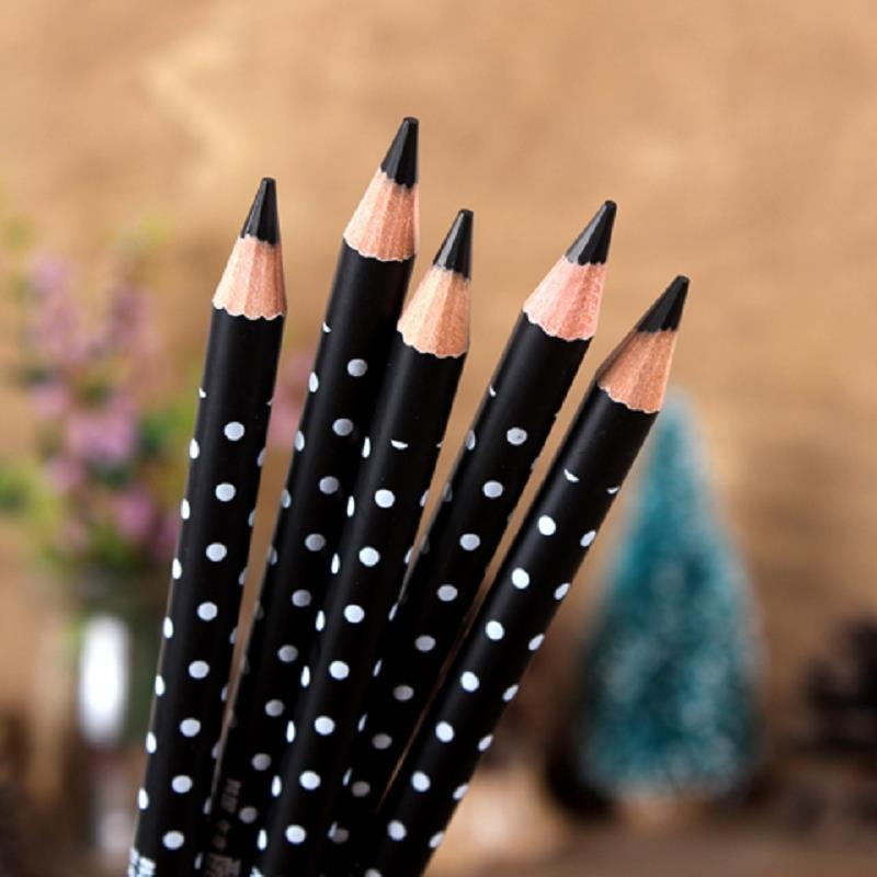 Waterproof Black Essential Eyeliner Dot Pen Pencil Wooden Handle 2 In 1 Girl Makeup Beauty Artlalic