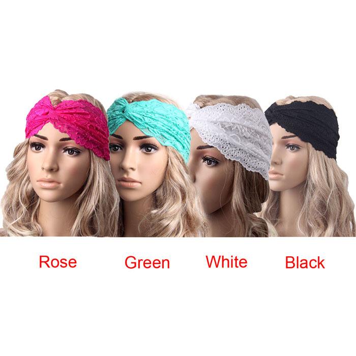 2015 New Fashion Women Headwear Twist Sport Yoga Lace Headband Turban Headscarf Wrap free shipping(China (Mainland))