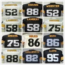 Mike Webster Jack Lambert Lynn Swann GREG LLOYD Hines Ward Joe Greene Men's Throwback Jersey Size 48-56(China (Mainland))