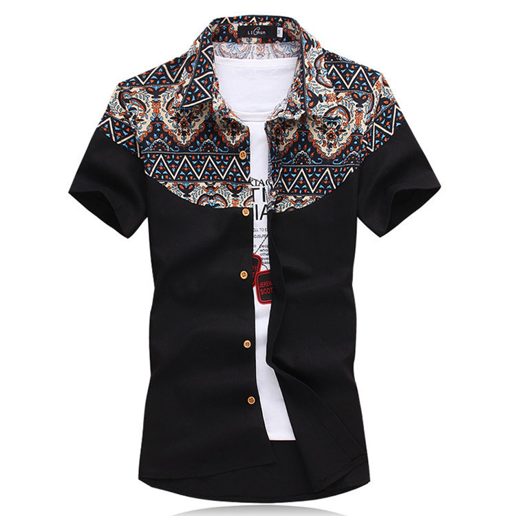 Luxury Mens Shirt 2015 Cotton Short Sleeve Slim Fit Casual
