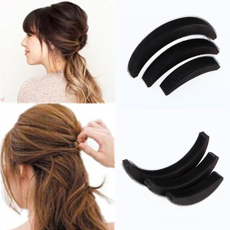 3 Pcs Different Sizes Fluffy Crescent Clip Bangs Paste Root Hair Increased Device Good Hair Heighten Tools for Girl(China (Mainland))