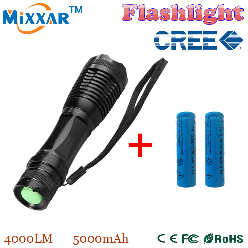 RUZK30 e17 CREE XM-L T6 4000Lumens 5-Mode Zoomable LED Flashlight Hard anodized Torch light with two 18650 5000mAh batteries(China (Mainland))